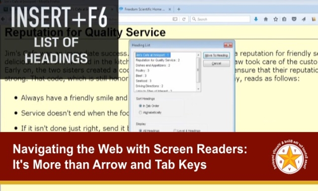 Navigating the Web with Screen Readers:It's More than Arrow and Tab Keys